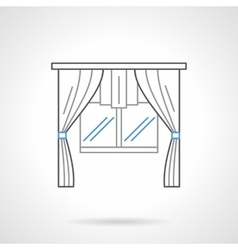 Window textile decor flat line icon vector image