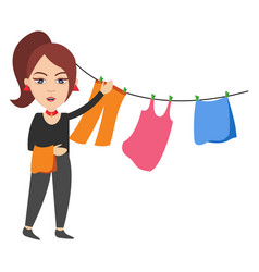 Woman spread clothing on white background vector