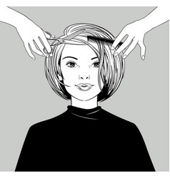 young girl in a hairdresser vector image