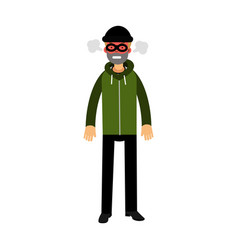 angry robber character with red face under mask vector image vector image