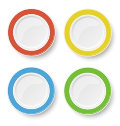 Set of color plates isolated on white background vector image