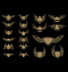 set of winged emblems in golden style design vector image vector image