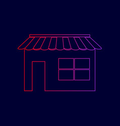 store sign line icon with vector image