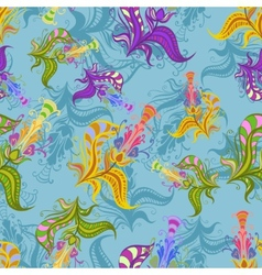 Vintage pattern of colored spring flowers vector image