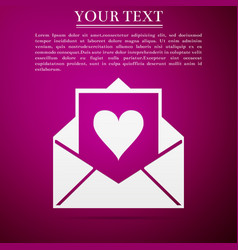 envelope with valentine heart icon letter love vector image