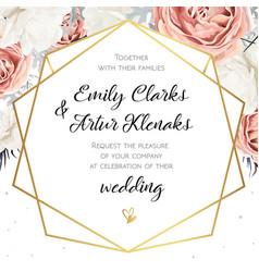 Floral wedding invitation invite card design with vector
