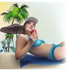 Girl On The Beach vector image vector image