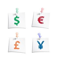 Hands draw money symbols vector image vector image