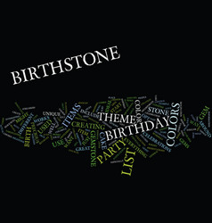 list of birthstone colors text background word vector image vector image