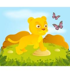 Little cortoon lion with butterflies vector image vector image
