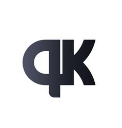 qk q k black initial letter logo design bold vector image
