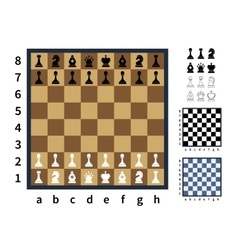 Set of chess icons and different chessboards vector image vector image