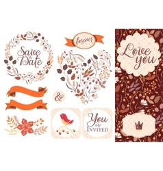 BIG Wedding graphic set isolated on white vector image vector image