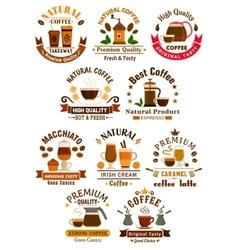 Coffee sorts emblems set for cafe restuarant vector image vector image
