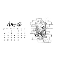 Desk calendar template for month August vector image
