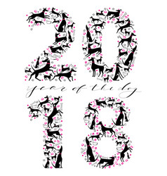 happy new year inscription with silhouettes of vector image vector image