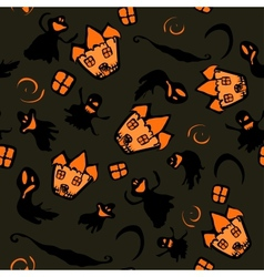 Haunted halloween witch house texture vector image