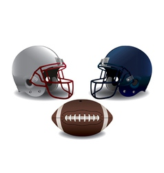 Isolated American Football Helmets and Ball vector image