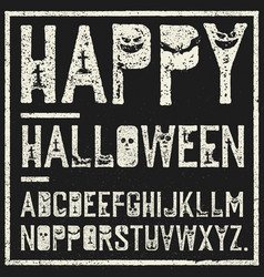 happy halloween decorative alphabet grunge stamp vector image