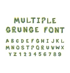 Multiple bright colors grunge font alphabet on vector image vector image