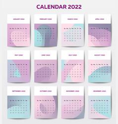 2022 calendar template with liquid style vector