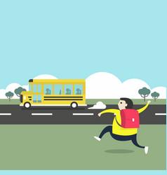 A boy running after school bus vector