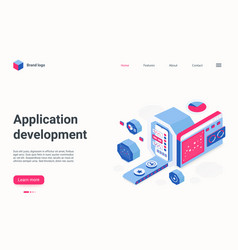 app development isometric landing page vector image