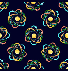 atom seamless pattern on dark blue background vector image
