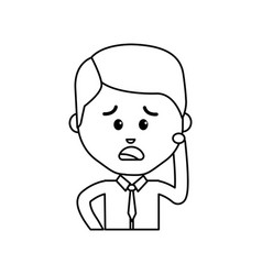 Avatar businessman line cartoon sad happy vector