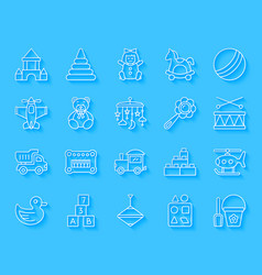 Baby toy simple paper cut icons set vector