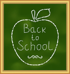 Back to school background with text and apple vector
