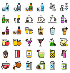 Beverage set filled icon editable stroke vector
