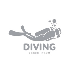 Black and white diving logo template with diver vector