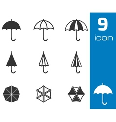 black umbrella icons set vector image