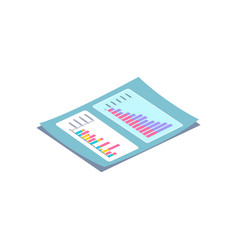 blue lying paper with rectangular charts vector image