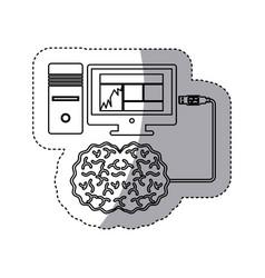 Brain hosting data icon stock vector