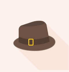 Brown wool fedora hat vector