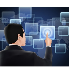 Businessman of visual touch screen vector