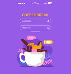 caffeine break mobile background vector image