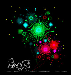Cartoon characters - firework and night vector