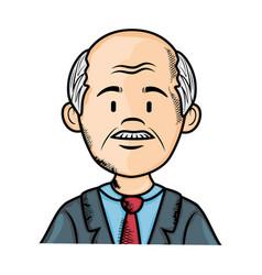 cartoon old man icon vector image
