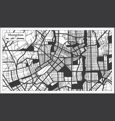 changchun china city map in black and white color vector image
