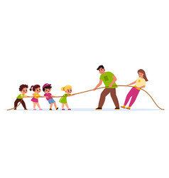 Children and adults tug war physical education vector