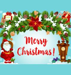 christmas wreath santa gifts greeting card vector image
