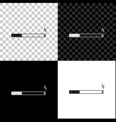 cigarette icon isolated on black white and vector image