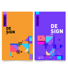 Colorful geometric poster and cover design vector