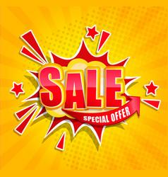 Comic sale boom banner in retro pop art style vector