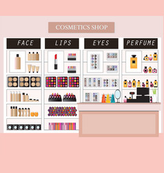 Cosmetics store interior with products on shelves vector