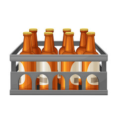 Crate with glass labeled beer bottles vector
