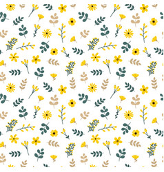 Cute floral seamless pattern with leaves and vector